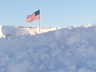 Snow and flag